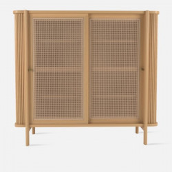 Shoe Cabinet with Rattan Door L120