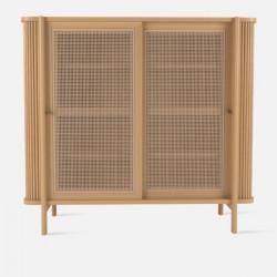 Shoe Cabinet with Rattan Door L120
