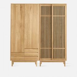 [SALE] Dolch Linear Side Wardrobe Set, Oak