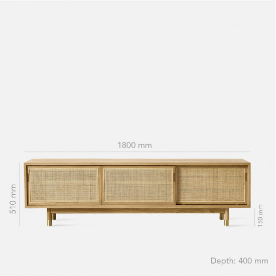 RATTAN TV Cabinet W180, Dark Walnut V.2