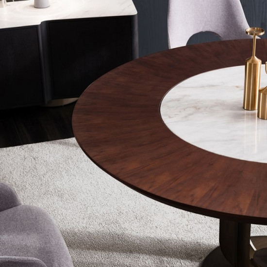 NOVA White Marble Round Table, Dia.158