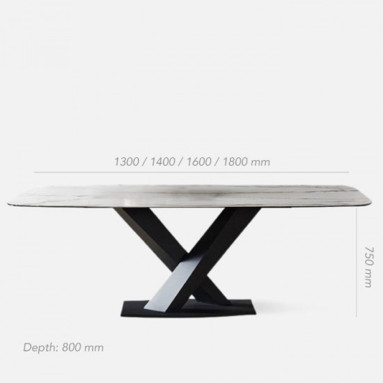 WILLOW White Sintered Stone Table, L130-180