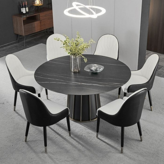 WILLOW Black Sintered Stone Round Table, D120-160