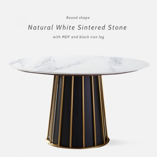 WILLOW White Sintered Stone Round Table, D120-160