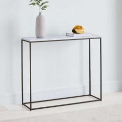 SIMP Console Table with Natural White Marble Top