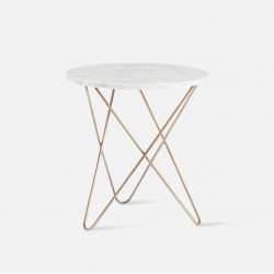 IND Marble Side Table, Golden