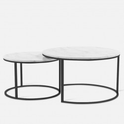 [SALE] Marble Round Coffee Table SET, Gold