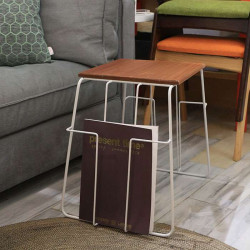 [Sale] Side table Wired metal wood top - white