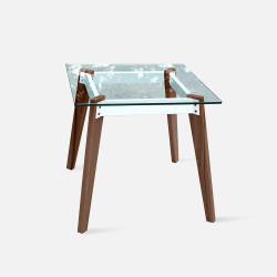 Pack Marble Table Square, L80, Teak [Display]
