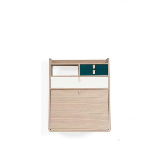 Wall Secretary Desk Gaston Oak 60 - Petrol Blue & White