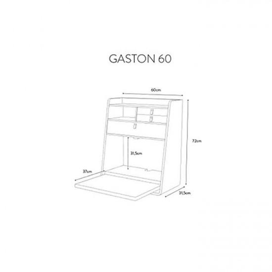 Wall Secretary Desk Gaston Oak 60 - Petrol Blue & White [Display]