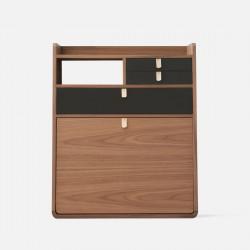 Wall Secretary Desk Gaston Walnut 60 - Slate Grey