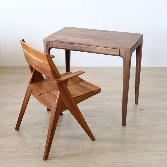 PIECE CURVE Working Table, L90, Light Natural Oak [Display]