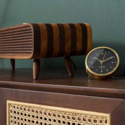 Alarm clock Tinge Steel - Gold with Black Dial